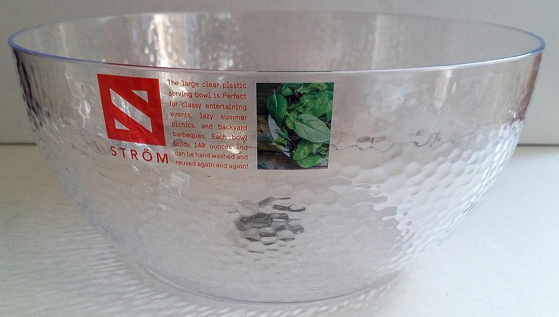 Strom Premium Clear Plastic Salad Serving Mixing Bowl 25cm 140oz