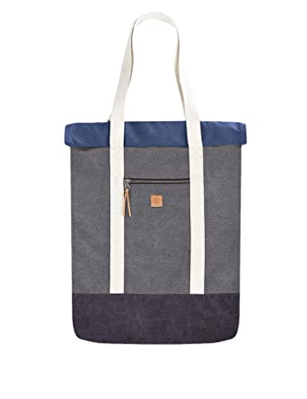 5754e60d6ea5 Water Repelling Canvas Travel Tote Bag Backpack for Men or Women (Grey -  Navy)