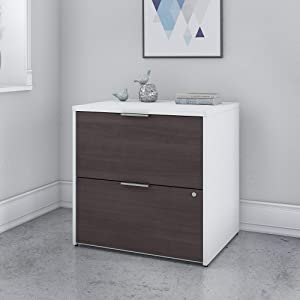 Bush Furniture Jamestown 2 Drawer Lateral File Cabinet in White and Storm Gray - Assembled