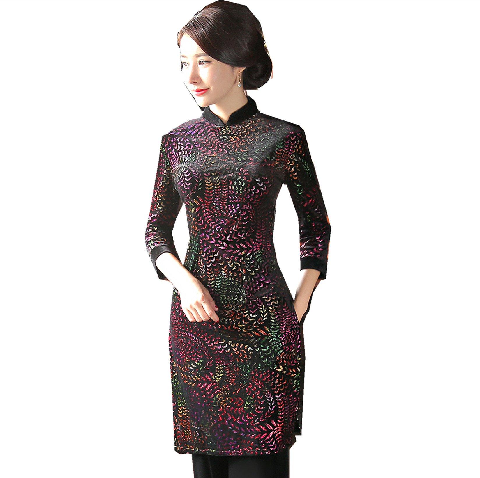 Shanghai Story Half Sleeve Ao Dai Without Pants Cheongsam Qipao Dress 3XL Purple by Shanghai Story