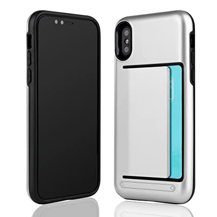 Liamoo Apple Iphone X Hülle Ultra Stoßfeste Profi Schutzhülle Mit Hohem Fallschutz Inklusive Kartenfach Für Kreditkarte Master