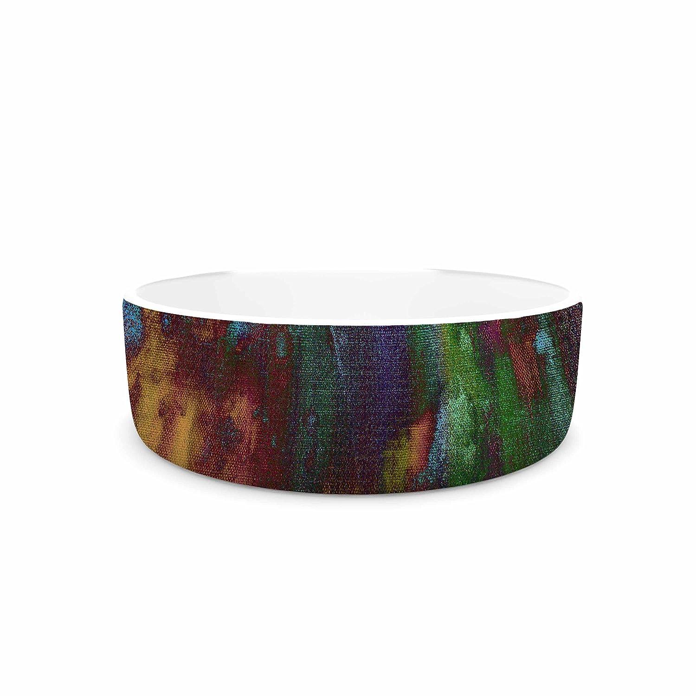 KESS InHouse Nina May Rainbow Saltwater Multicolor Painting Pet Bowl, 7  Diameter