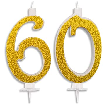 Velas Maxi 60 años para Tarta Fiesta cumpleaños 60 años decoración Velas Feliz cumpleaños Tarta 60 (Fiesta temática) Altura 13 cm Oro Purpurina