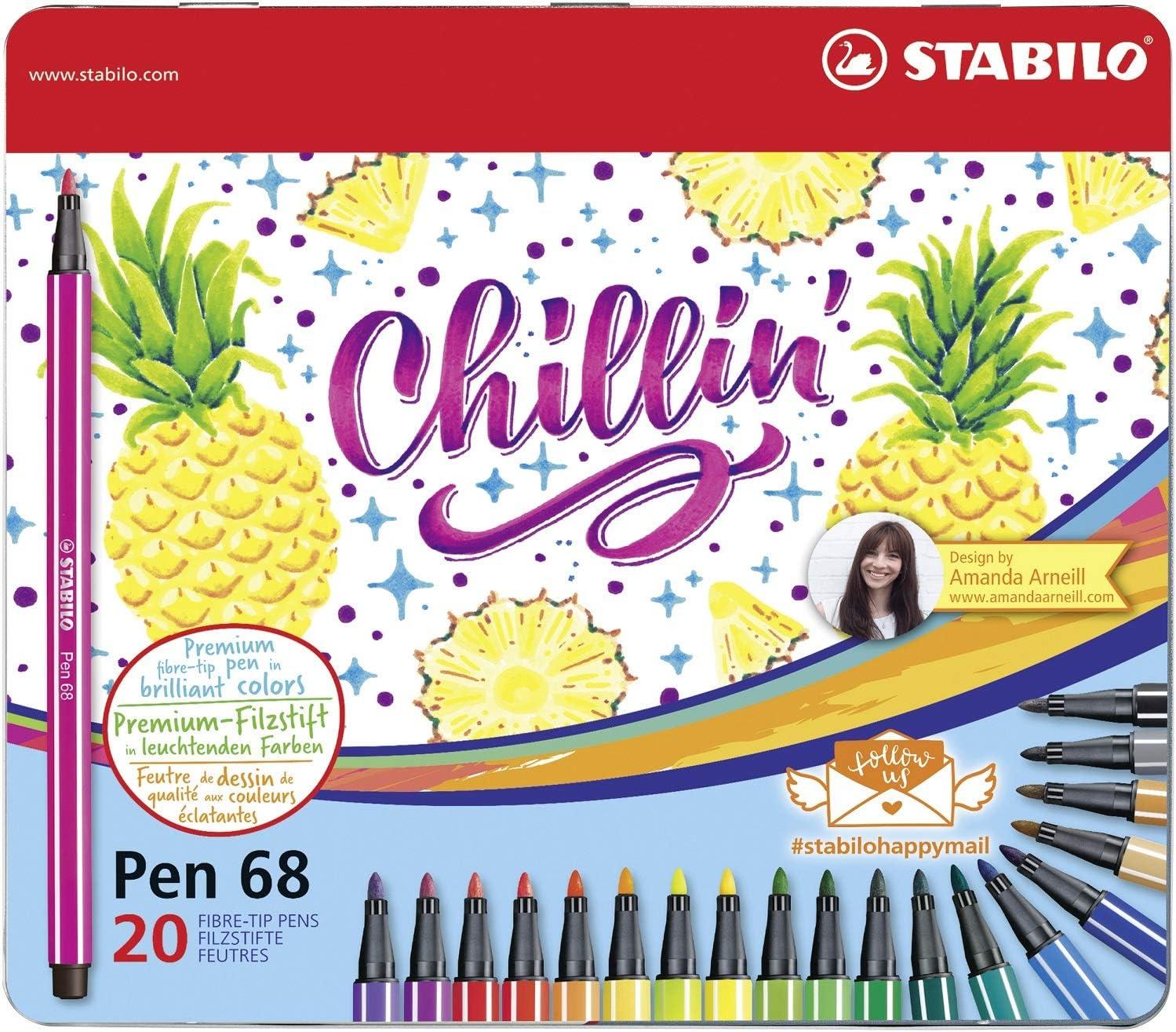 STABILO Pen 68 - Pack de 20 rotuladores de punta de metal con ...