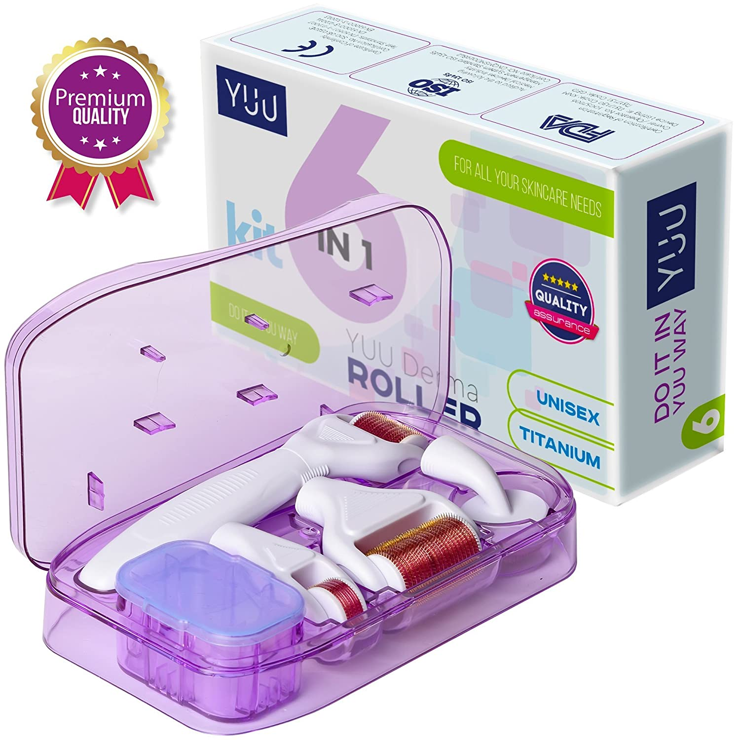 YUU Premium Derma Roller - 6 In 1 Kit for Face and Body with 4 Titanium Needle Heads, Silicone Brush and Disinfecting Tray in a Sterile Sealed Case