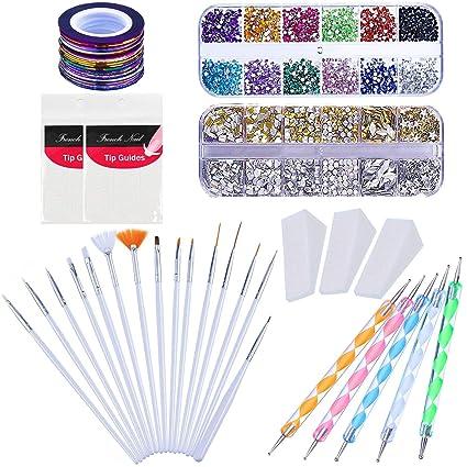 Kyerivs - Juego de 15 pinceles de uñas decorativos, 12 colores, 10 unidades,
