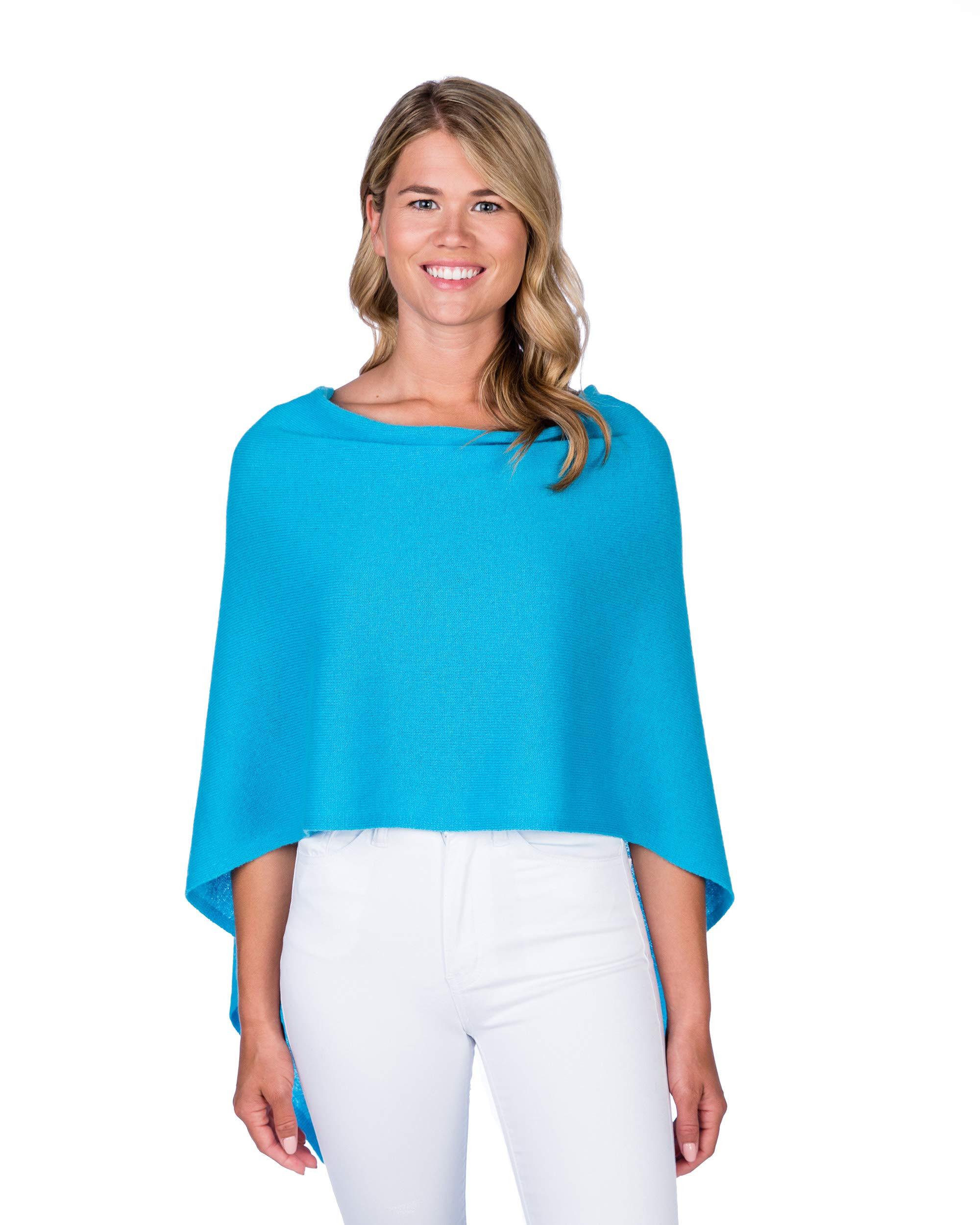 Alashan Cashmere Claudia Nichole Cashmere Draped Dress Topper - Turquoise/715