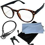 (ジャパナイス)JapaNice 拡大鏡 だと気付かれないメガネ型 拡大鏡 1.8倍 ルーペ グラス 5点セット BO025-8 (1.8倍 ブラウンマーブル×ブラックフレーム)
