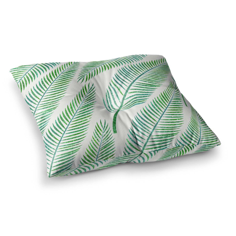 23 x 23 Square Floor Pillow Kess InHouse 83 Oranges Palm Teal Green Illustration