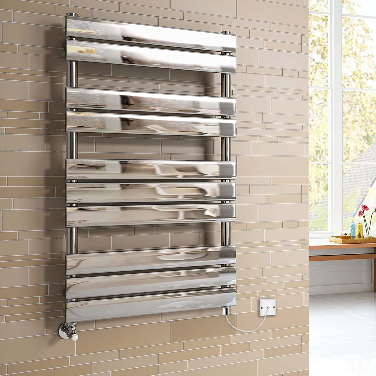 650x400 mm Electric Chrome Designer Flat Panel Towel Rail Radiator Heated Bathroom iBathUK