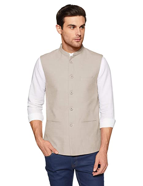 833c1cc48c True Blue Mens Mao Collar Slub Nehru Jacket: Amazon.in: Clothing &  Accessories