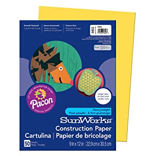 "SunWorks Construction Paper, Yellow,  9"" x 12"", 50 Sheets"
