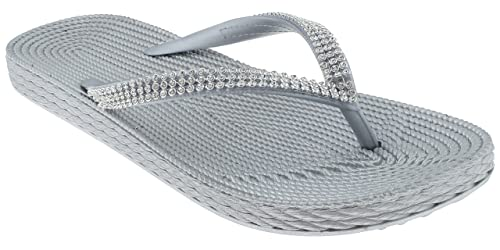 1b74ed0e5 Image Unavailable. Image not available for. Color  Capelli New York Ladies  Fashion Flip Flops with Rhinestone Trim Silver 8