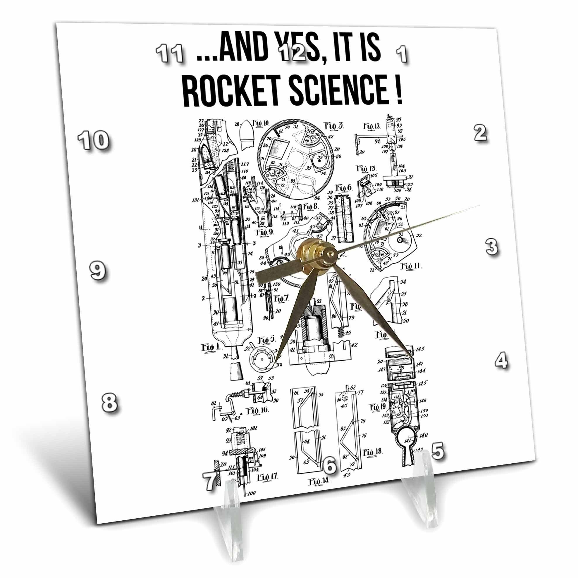 3dRose Carsten Reisinger - Illustrations - Yes It Is Rocket Science Funny Rocket Engine Diagram - 6x6 Desk Clock (dc_282675_1)