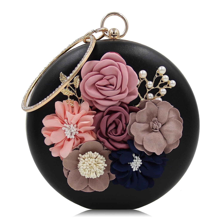 Pochette Rigide Sac de Soir/ée Ronde 3D Fleur Perle Strass D/écor/é Blanc pour Femme