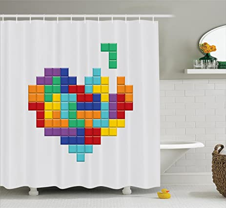 Attractive Video Games Shower Curtain Set 90s Decor By Ambesonne, Video Game Colorful  Heart Blocks Valentines