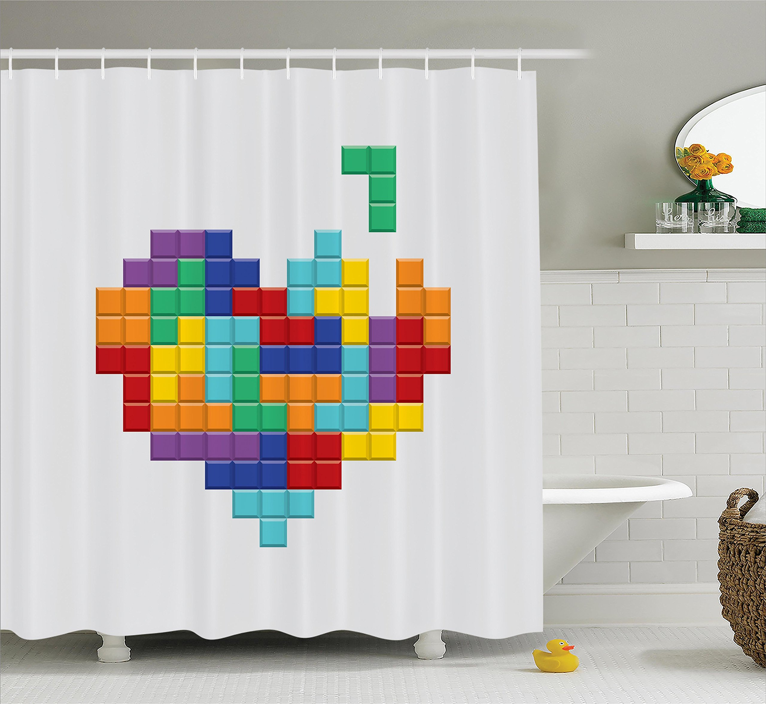 Video Games Shower Curtain Set 90s Decor by Ambesonne, Video Game Colorful Heart Blocks Valentines Day Celebration Joy Love Design Art Print, Fabric Bathroom Decorations with Hooks, Multicolor
