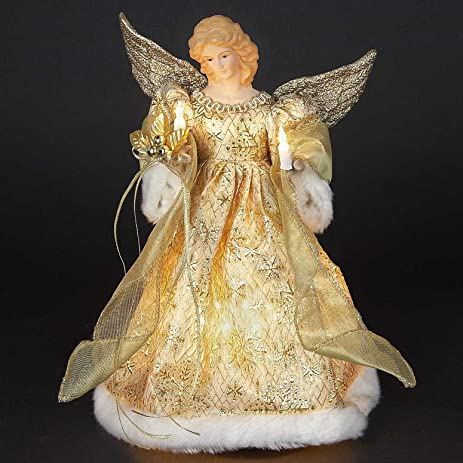 christmas tree toppers lighted gold angel tree topper 14h