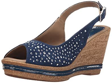 Azura by Spring Step Women's Showtime Wedge Sandal, Navy, 35 EU/5 M