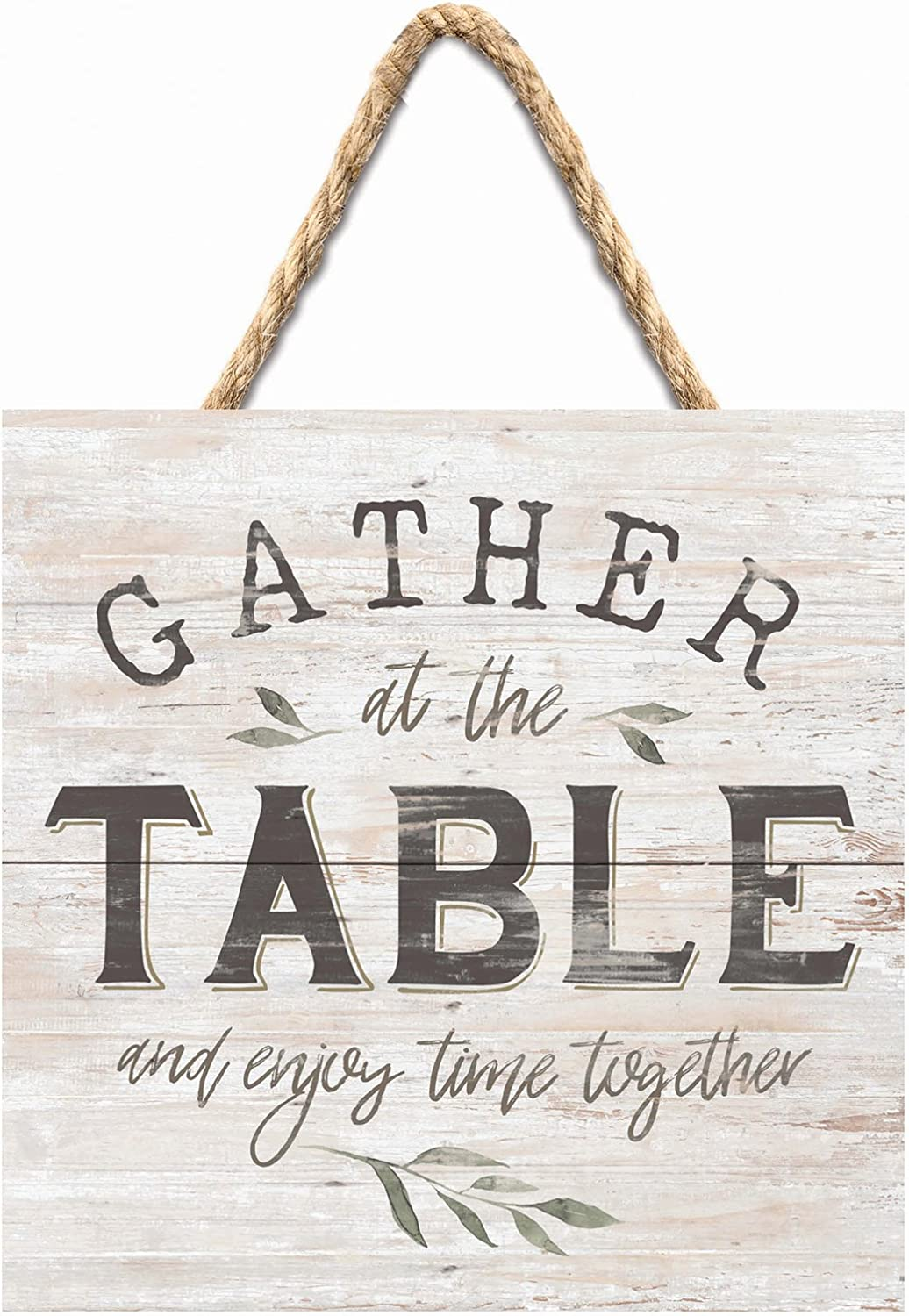 P. Graham Dunn Gather at The Table Rustic Whitewash 7 x 7 Inch Wood Pallet Wall Hanging Sign