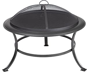 Fire Sense Tokia Round Black Steel 30 Inch Fire Pit with Stand | Wood Burning | Mesh Spark Screen, Wood Grate, and Screen Lift Tool Included | Lightweight Portable Patio and Outdoor Heater |