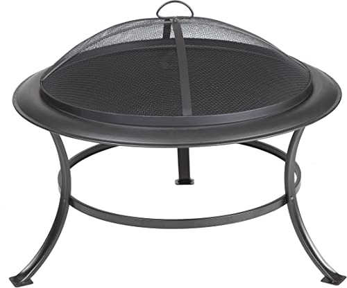 Fire Sense Tokia Round Black Steel 30 Inch Fire Pit with Stand Wood Burning Mesh Spark Screen, Wood Grate, and Screen Lift Tool Included Lightweight Portable Patio and Outdoor Heater