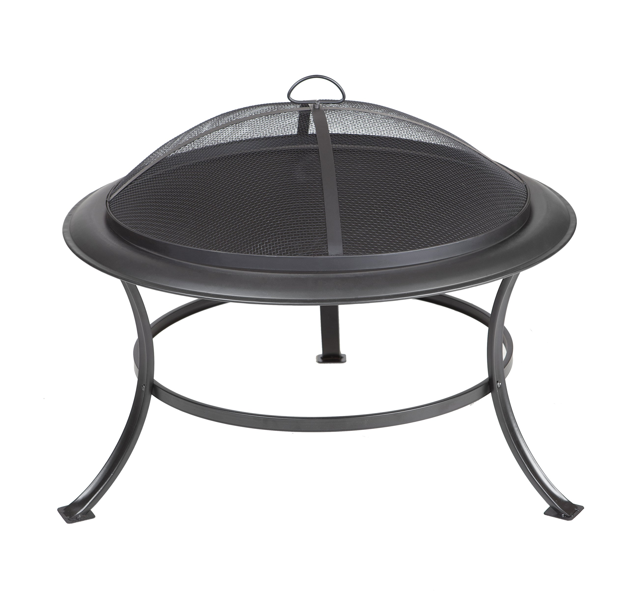 Fire Sense Tokia Round Black Steel 30 Inch Fire Pit with Stand | Wood Burning | Mesh Spark Screen, Wood Grate, and… - This outdoor fire pit has been constructed using black painted steel. The black fire pit features a steel fire bowl with a rounded lip and curved legs. This large fire pit uses wood chunks as its source of fuel. - patio, outdoor-decor, fire-pits-outdoor-fireplaces - 81Is8itrbAL -