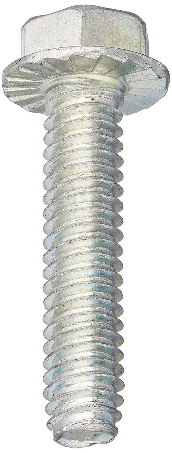 3//4 Length Pack of 100 Zinc Plated Serrated Hex Washer Head Steel Thread Rolling Screw for Metal #8-32 Thread Size