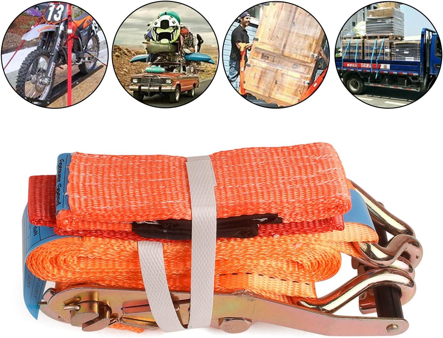 Sangle de Serrage /à cliquet avec cliquet Orange everfarel 4X Sangles Voiture Transport 2500//5000 daN 2.8 M 50 mm