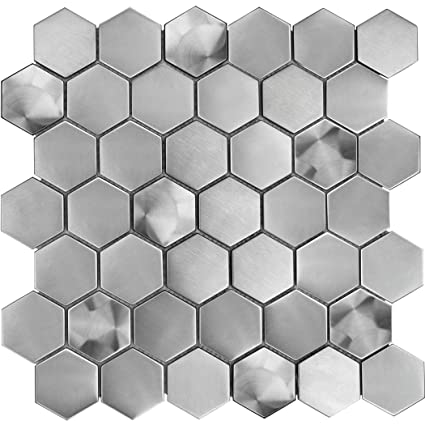 Silver Swirl Hexagon Stainless Steel Metal Mosaic Tile For