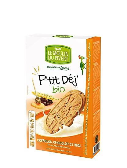 Le Moulin Du Pivert Galletas Desayunos de Cereales, Chocolate y Miel - Paquete de 12