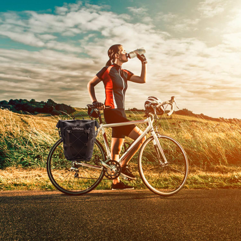 LEMEGO Bolsa Alforja Trasera para Bicicleta 27L Grande Bolsa Bicicleta Multifunci/ón Carretera MTB Bicicleta de Monta/ña Adaptables a la Carga e Impermeables