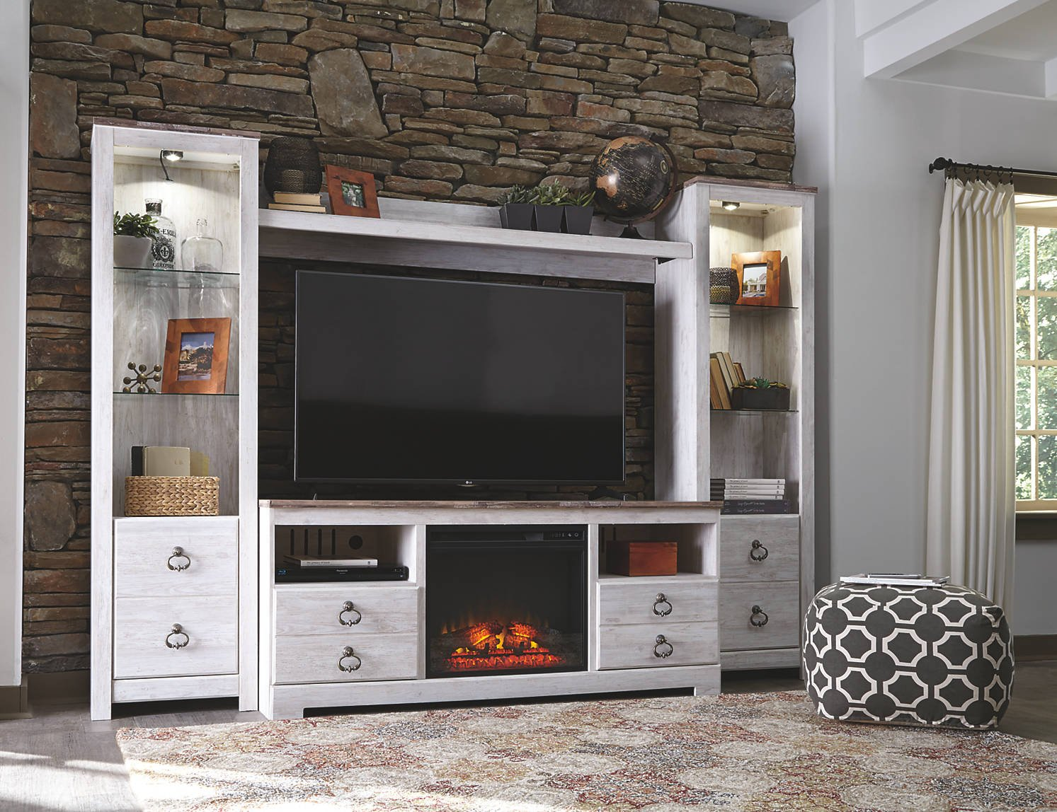 Signature Design by Ashley Willowton Large TV Stand with Fireplace Option Whitewash by Signature Design by Ashley
