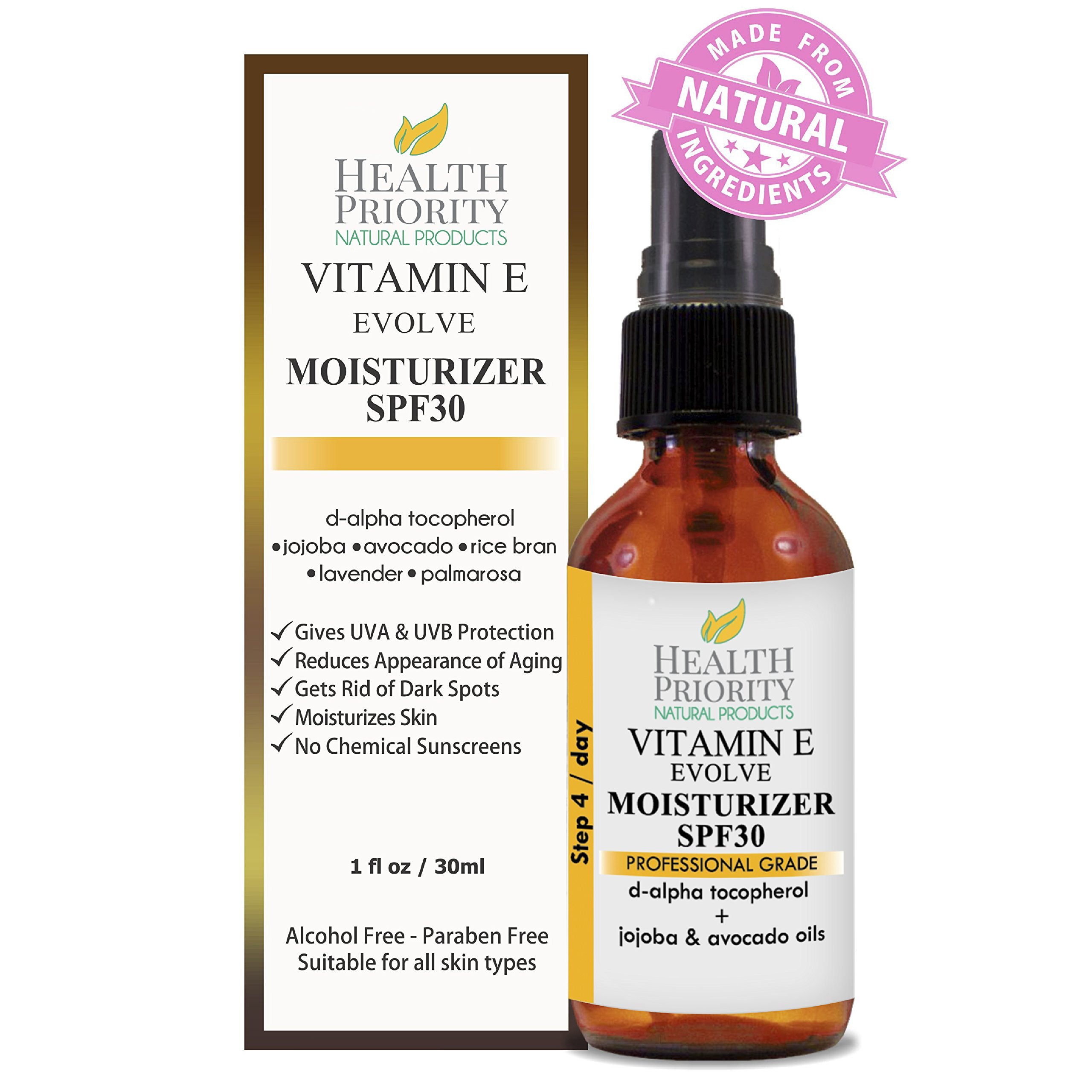 Natural Vitamin E Moisturizer + SPF 30. Daily non-greasy moisturizing sunscreen perfect for face and under makeup. Chemical & paraben free mineral sunblock lotion safe for baby & kids. Hydrating cream