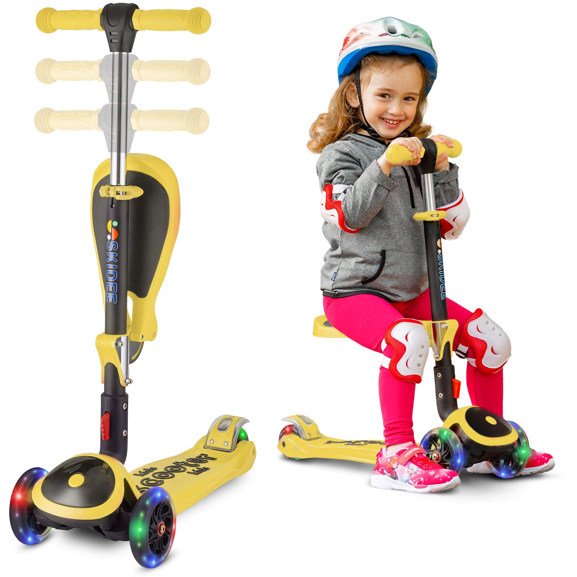 Scooter For Kids with Folding Seat - 2-in-1 Adjustable 3 Wheel Kick Scooter for Toddlers Girls & Boys - Fun Outdoor Toys for Kids Fitness, Outside Games, Kid Activities - Y200 (Yellow, Scooter)