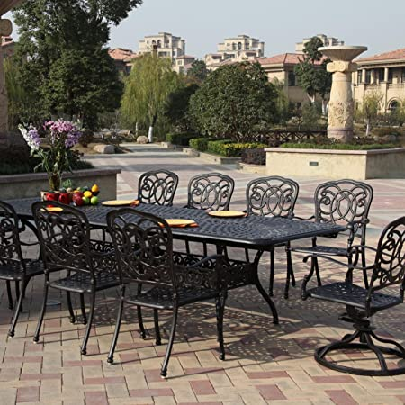 11 piece outdoor dining set cast aluminum powder coated 132 extension table.