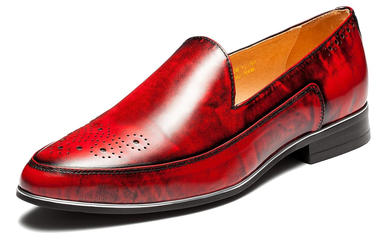 OPP Hombres Loafer Flats vestido formal zapatos de piel suave Tiny agujeros Slip-On decoración 42 EU|Red