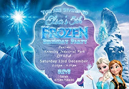 10 Personalised Frozen Birthday Party Invitations Free Envelopes