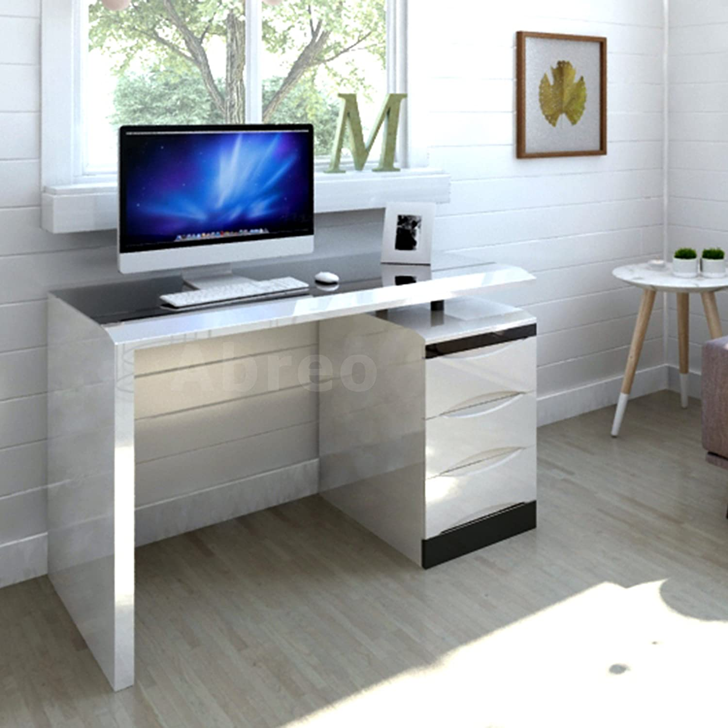 white high gloss pc computer desk black glass top 3 drawer home office furniture white amazoncouk kitchen u0026 home