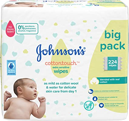 JOHNSONS Cottontouch - Toallitas extra sensibles 224 ct (56 x 4) - mezcladas con algodón real - pH equilibrado para pieles delicadas: Amazon.es: Belleza