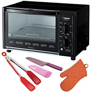 Zojirushi ET-WMC22 Toaster Oven, 2-Slice, Black Includes Flipper Tongs, Knife and Oven Mitt Bundle