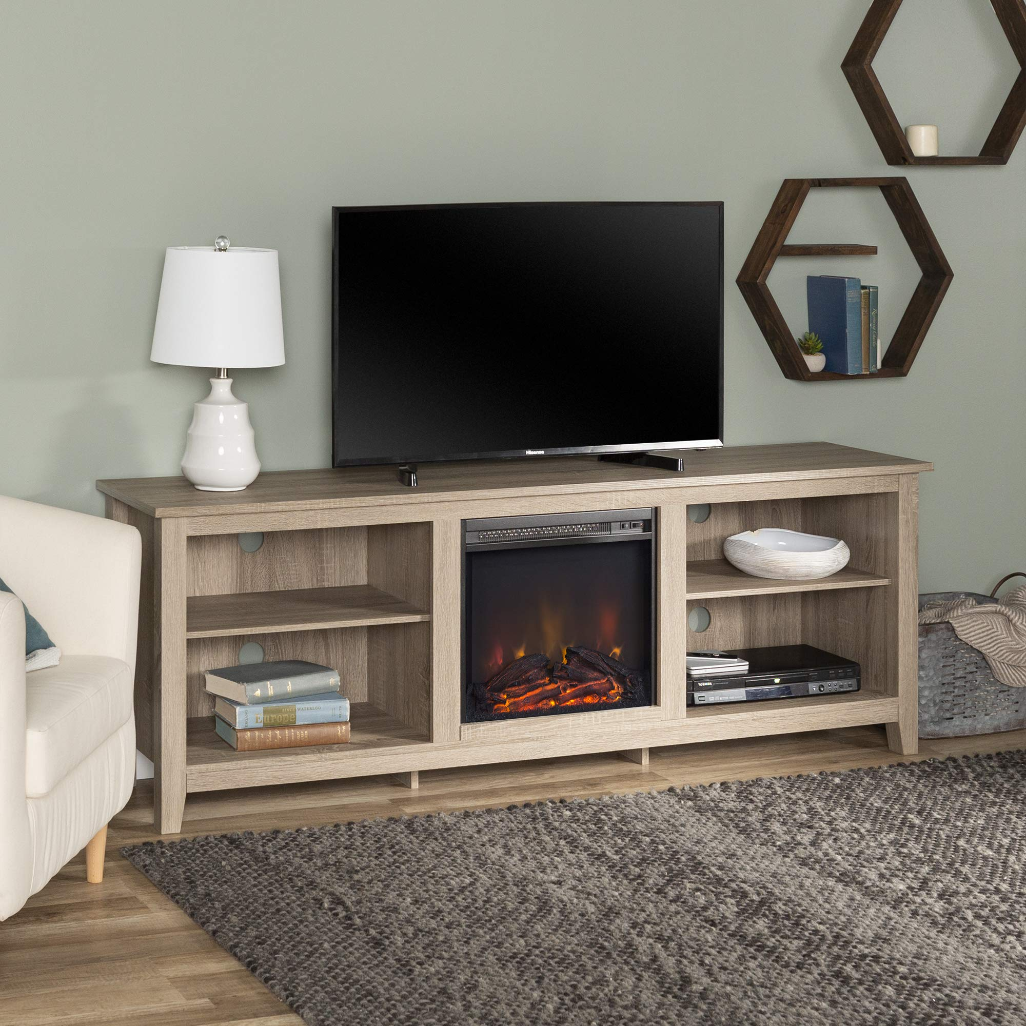 Walker Edison Wren Classic 4 Cubby Fireplace TV Stand for TVs up to 80 Inches, 70 Inch, Driftwood
