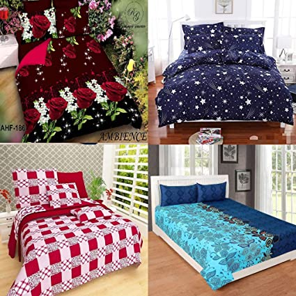 Urban Home Floral King Size Double Bedsheet, Combo Set Of 4 Bedsheets And 2  Pillow