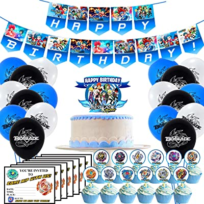 Birthday Party Supplies Include Banner – 24 Cupcake Toppers – Cake Topper – 18 Balloons – 15 Invitations Card for Beyblade: Health & Personal Care