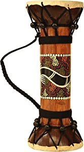 """G6 COLLECTION 11.5"""" Exotic Wooden Hand Carved Double Sided Drum Djembe Home Decor Gift Wood Decoration Handcrafted Accent Decorative Drum Djembe"""