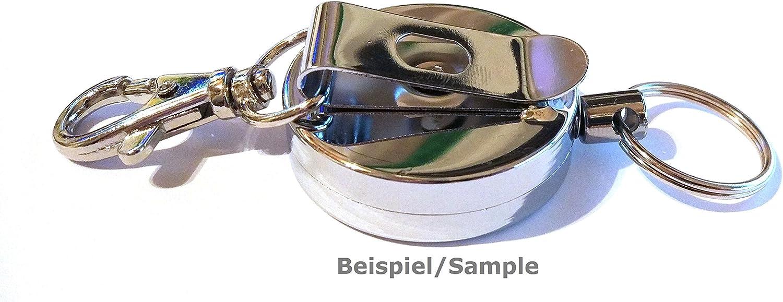 Drahtseil Ausweisjojo mit G/ürtelclip 40mm /Ø Jojo Zipper rund Aufrollmechanismus bis zu 150gr Zugkraft EXTRA STARK /& Karabinerhaken Waizmann.IDeaS/® STAHLSEIL
