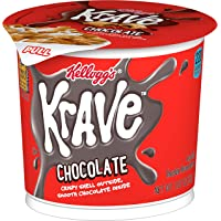 Kellogg's Krave Breakfast Cereal in a Cup, Chocolate, Good Source of Fiber, Bulk Size, 12 Count (Pack of 2, 11.2 oz…