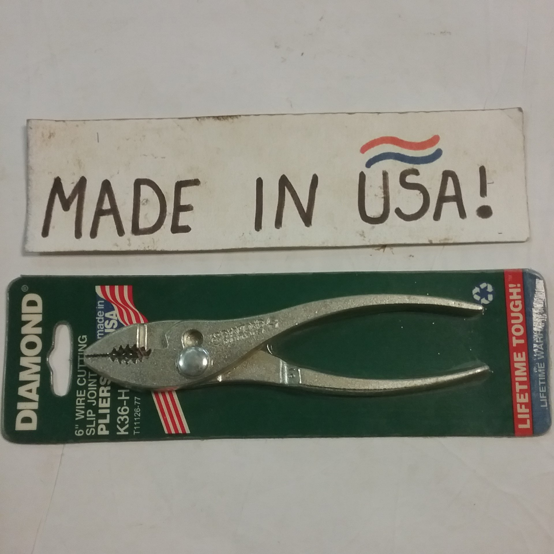 Diamond 6'' Vintage Wire Cutting Slip Joint Pliers NOS USA Made by Diamond Collection