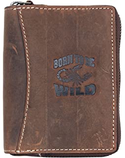 56a672fa9b8b Born to be Wild Men's Natural Zip-around Genuine Leather Wallet with ...