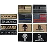 Bundle 12 Pieces USA Flag Patch Thin Blue Line Tactical American Flag US United States Military Patches Set for Caps,Bags,Bac
